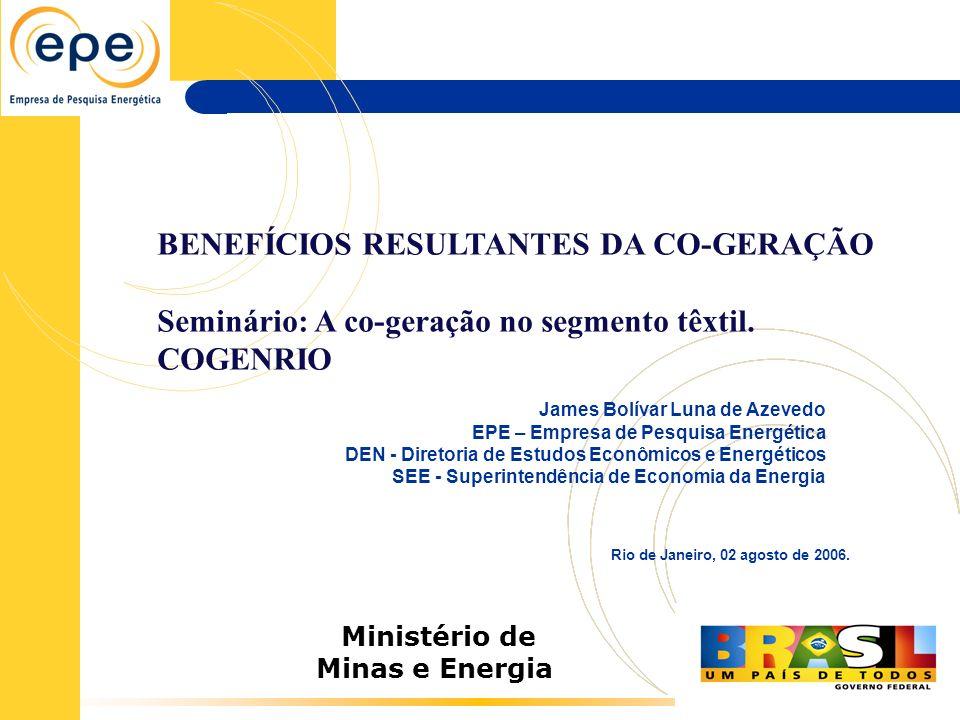 Ministério de Minas e Energia Rio de Janeiro, 02 agosto de 2006. James Bolívar Luna de Azevedo EPE – Empresa de Pesquisa Energética DEN - Diretoria de