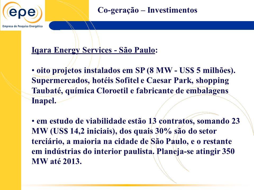 Co-geração – Investimentos Iqara Energy Services - São Paulo: oito projetos instalados em SP (8 MW - US$ 5 milhões). Supermercados, hotéis Sofitel e C