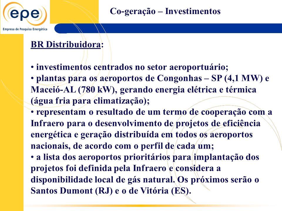 Co-geração – Investimentos BR Distribuidora: investimentos centrados no setor aeroportuário; plantas para os aeroportos de Congonhas – SP (4,1 MW) e M
