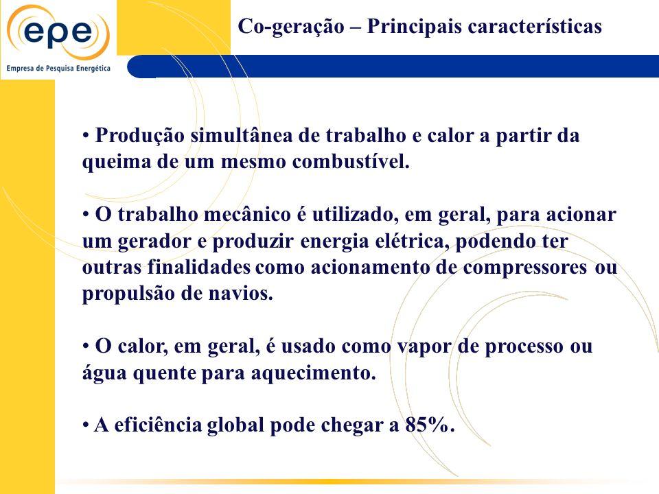 Co-geração – Principais características Melhor uso da energia do combustível.