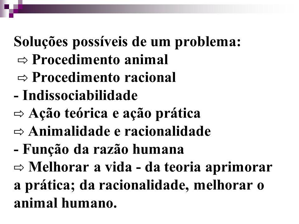 Soluções possíveis de um problema: Procedimento animal Procedimento racional - Indissociabilidade Ação teórica e ação prática Animalidade e racionalidade - Função da razão humana Melhorar a vida - da teoria aprimorar a prática; da racionalidade, melhorar o animal humano.
