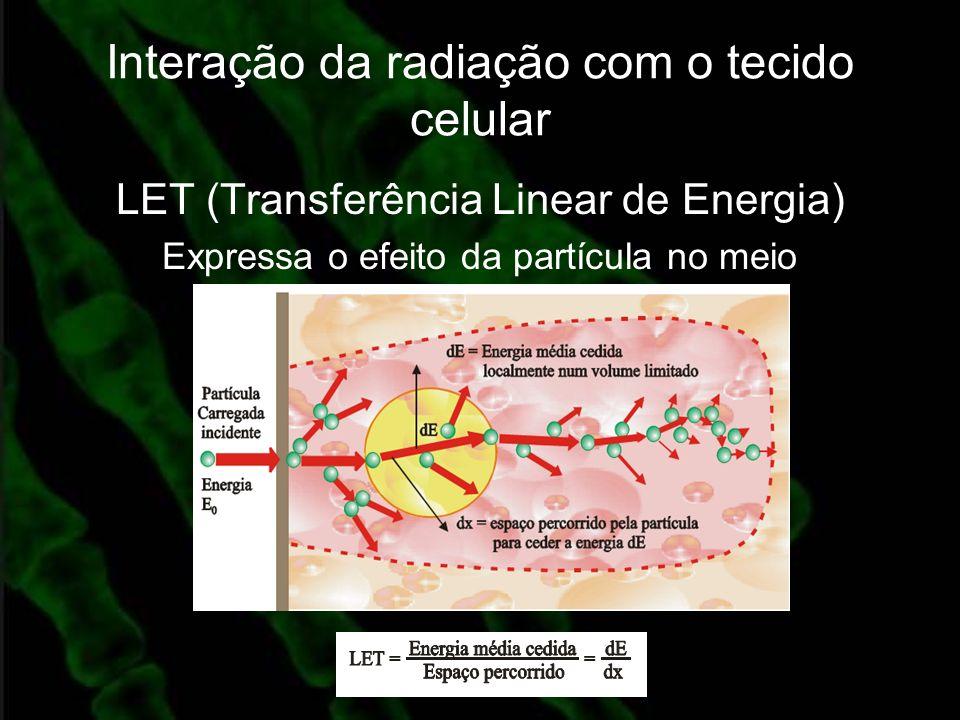 Interação da radiação com o tecido celular LET (Transferência Linear de Energia) Expressa o efeito da partícula no meio