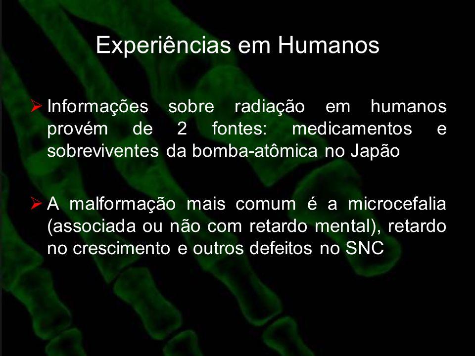Experiências em Humanos Informações sobre radiação em humanos provém de 2 fontes: medicamentos e sobreviventes da bomba-atômica no Japão A malformação