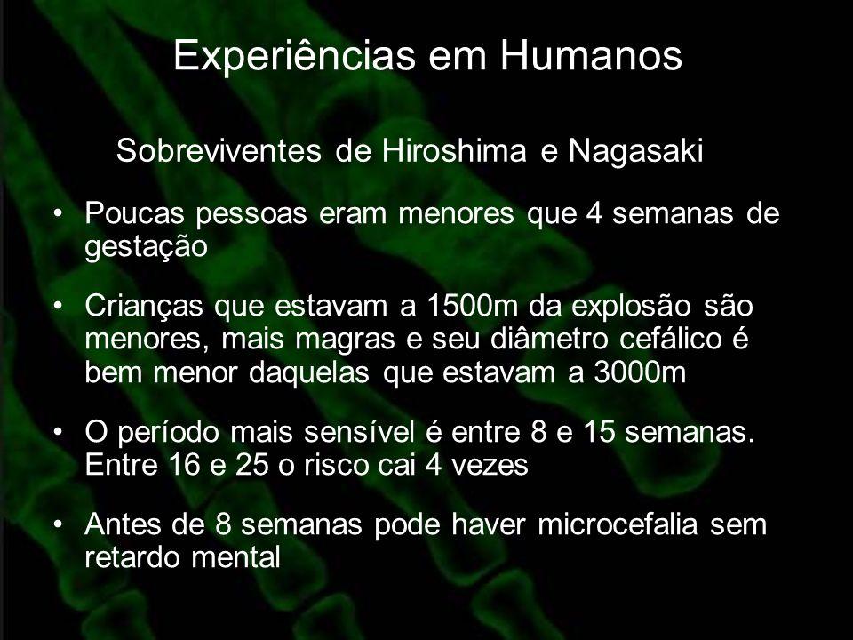 Experiências em Humanos Poucas pessoas eram menores que 4 semanas de gestação Crianças que estavam a 1500m da explosão são menores, mais magras e seu