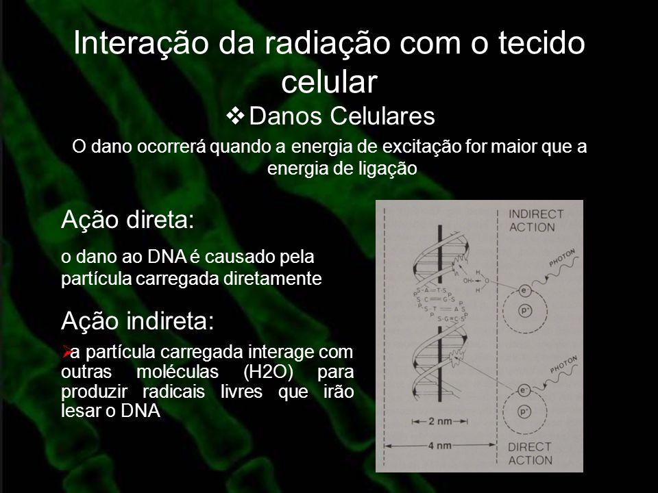 Interação da radiação com o tecido celular Danos Celulares O dano ocorrerá quando a energia de excitação for maior que a energia de ligação Ação diret