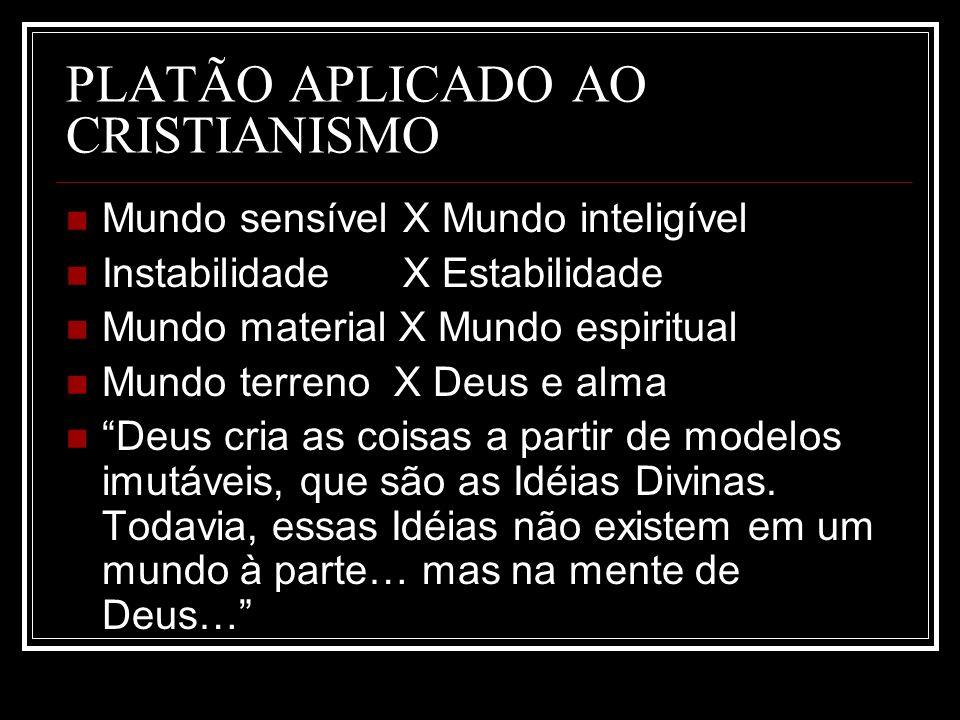 PLATÃO APLICADO AO CRISTIANISMO Mundo sensível X Mundo inteligível Instabilidade X Estabilidade Mundo material X Mundo espiritual Mundo terreno X Deus