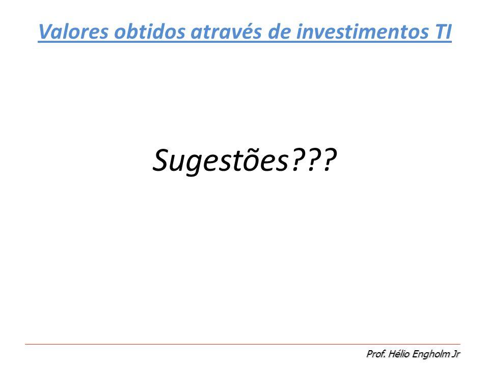 Prof. Hélio Engholm Jr Valores obtidos através de investimentos TI Sugestões???