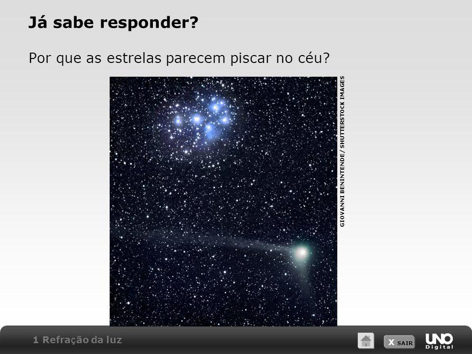 X SAIR Já sabe responder? Por que as estrelas parecem piscar no céu? GIOVANNI BENINTENDE/ SHUTTERSTOCK IMAGES 1 Refra ç ão da luz