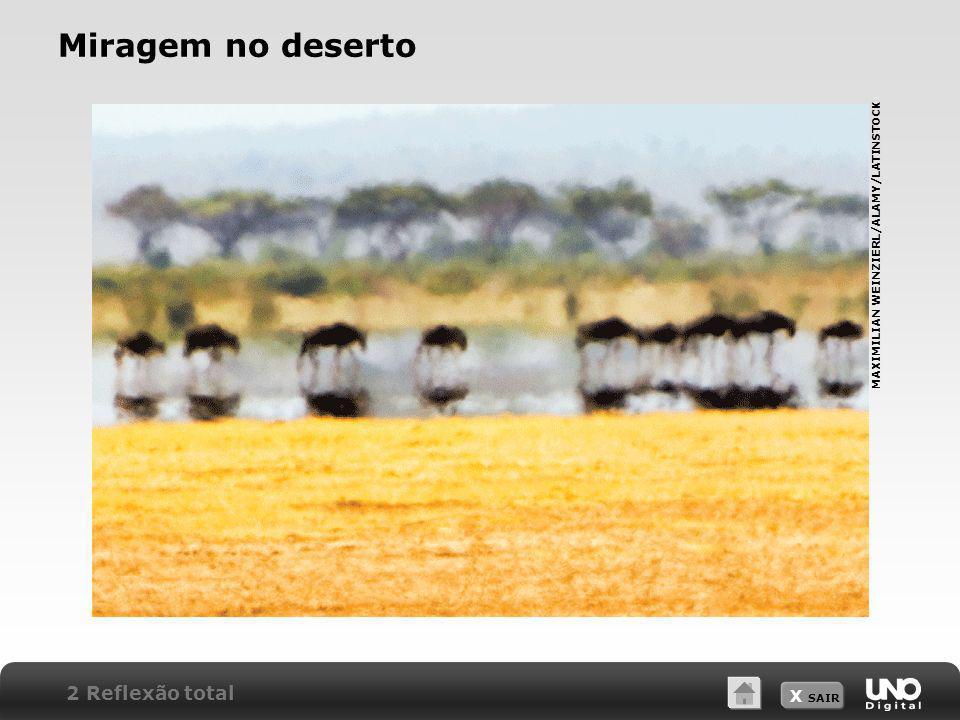 X SAIR Miragem no deserto MAXIMILIAN WEINZIERL/ALAMY/LATINSTOCK 2 Reflexão total