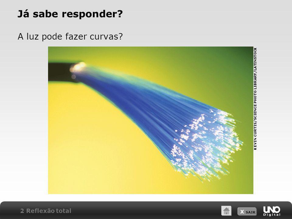 X SAIR Já sabe responder? A luz pode fazer curvas? KEVIN CURTIS/SCIENCE PHOTO LIBRARY/LATINSTOCK 2 Reflexão total