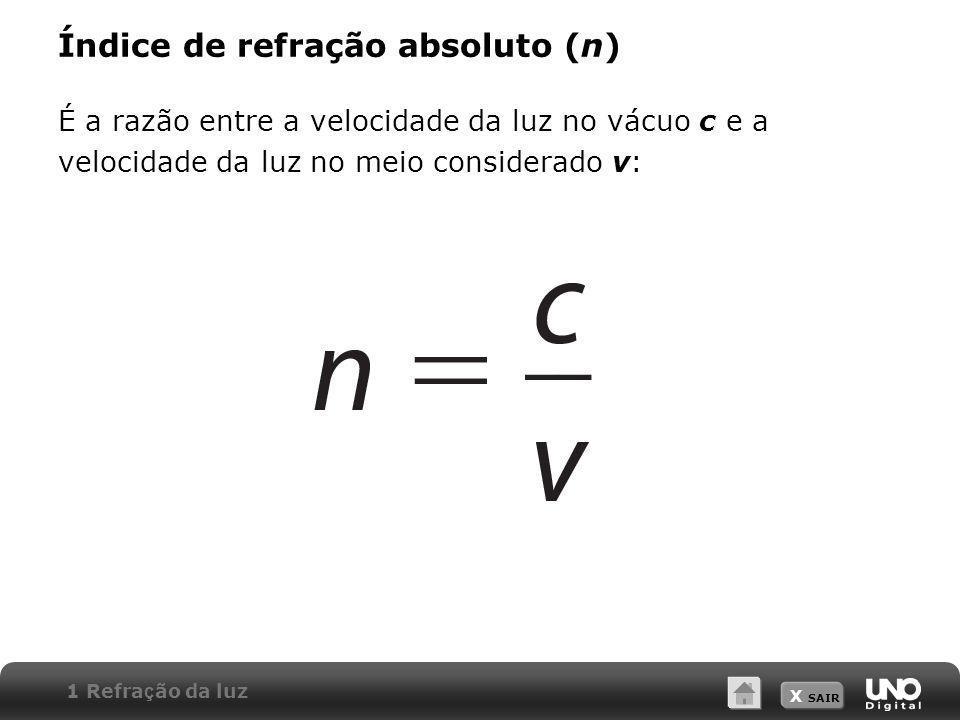 X SAIR Índice de refração absoluto (n) É a razão entre a velocidade da luz no vácuo c e a velocidade da luz no meio considerado v: 1 Refra ç ão da luz