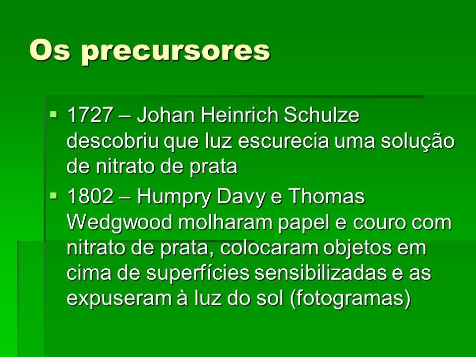 Os precursores 1727 – Johan Heinrich Schulze descobriu que luz escurecia uma solução de nitrato de prata 1727 – Johan Heinrich Schulze descobriu que l