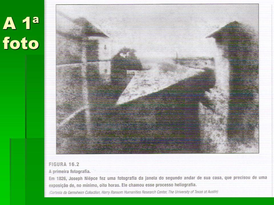Como foi feita a 1ª foto 1826, Niépce registrou o contorno de árvores e prédios com poucos detalhes 1826, Niépce registrou o contorno de árvores e prédios com poucos detalhes O filme era um pedaço de estanho, coberto com a sustância semelhante ao asfalto, com um tempo de exposição de 8 horas O filme era um pedaço de estanho, coberto com a sustância semelhante ao asfalto, com um tempo de exposição de 8 horas O ISSO real seria de 0,00001, cerca de um milionésimo de um filme atual O ISSO real seria de 0,00001, cerca de um milionésimo de um filme atual