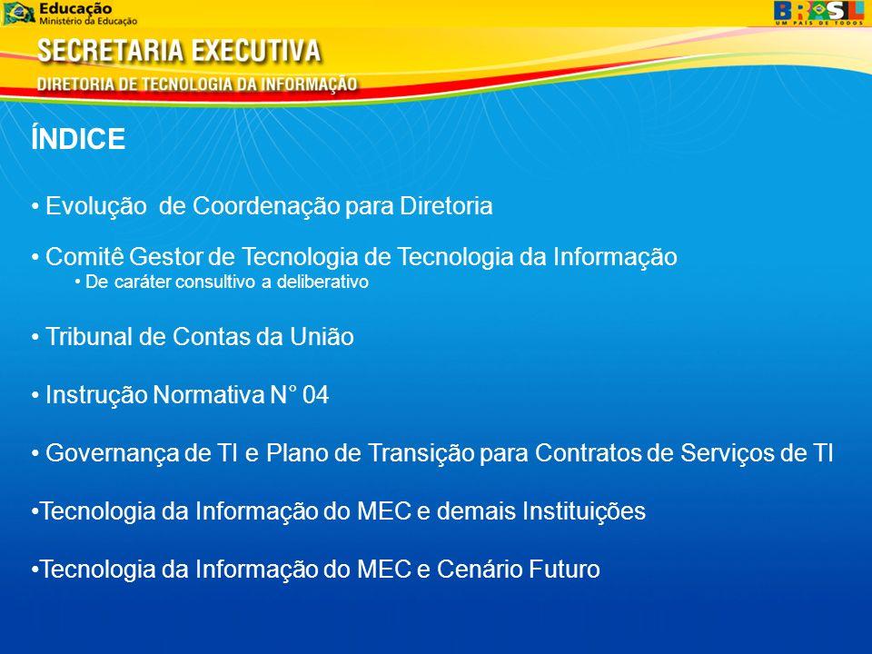 ÍNDICE Evolução de Coordenação para Diretoria Comitê Gestor de Tecnologia de Tecnologia da Informação De caráter consultivo a deliberativo Tribunal de