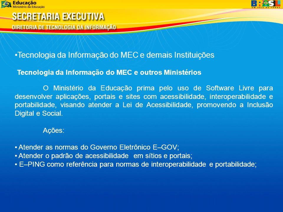 Tecnologia da Informação do MEC e demais Instituições Tecnologia da Informação do MEC e outros Ministérios O Ministério da Educação prima pelo uso de