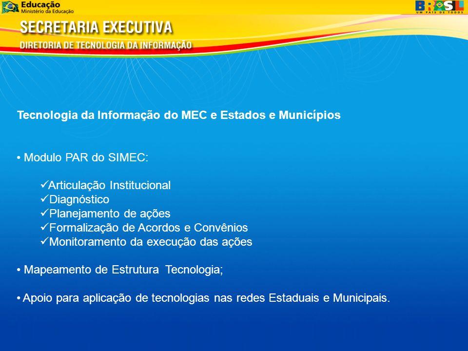 Tecnologia da Informação do MEC e Estados e Municípios Modulo PAR do SIMEC: Articulação Institucional Diagnóstico Planejamento de ações Formalização d