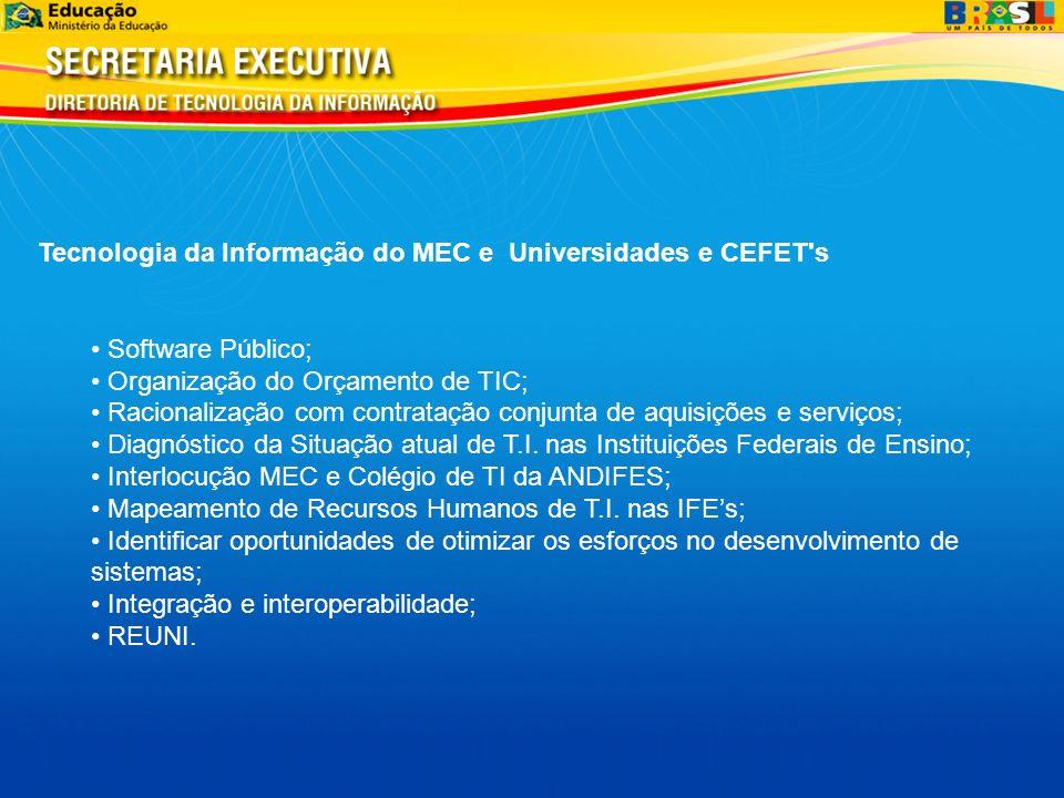 Tecnologia da Informação do MEC e Universidades e CEFET's Software Público; Organização do Orçamento de TIC; Racionalização com contratação conjunta d
