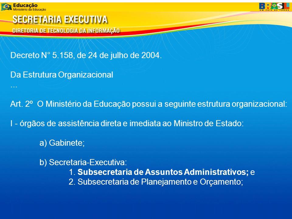 Decreto N° 5.158, de 24 de julho de 2004. Da Estrutura Organizacional... Art. 2º O Ministério da Educação possui a seguinte estrutura organizacional: