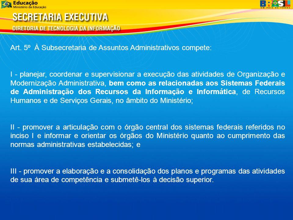 Art. 5º À Subsecretaria de Assuntos Administrativos compete: I - planejar, coordenar e supervisionar a execução das atividades de Organização e Modern