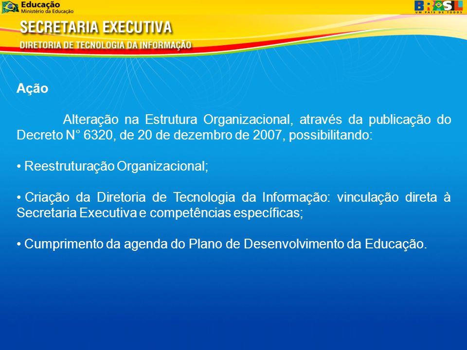 Ação Alteração na Estrutura Organizacional, através da publicação do Decreto N° 6320, de 20 de dezembro de 2007, possibilitando: Reestruturação Organizacional; Criação da Diretoria de Tecnologia da Informação: vinculação direta à Secretaria Executiva e competências específicas; Cumprimento da agenda do Plano de Desenvolvimento da Educação.
