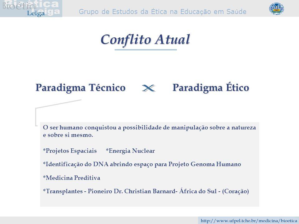 Grupo de Estudos da É tica na Educa çã o em Sa ú de Conflito Atual Paradigma Técnico Paradigma Ético O ser humano conquistou a possibilidade de manipu
