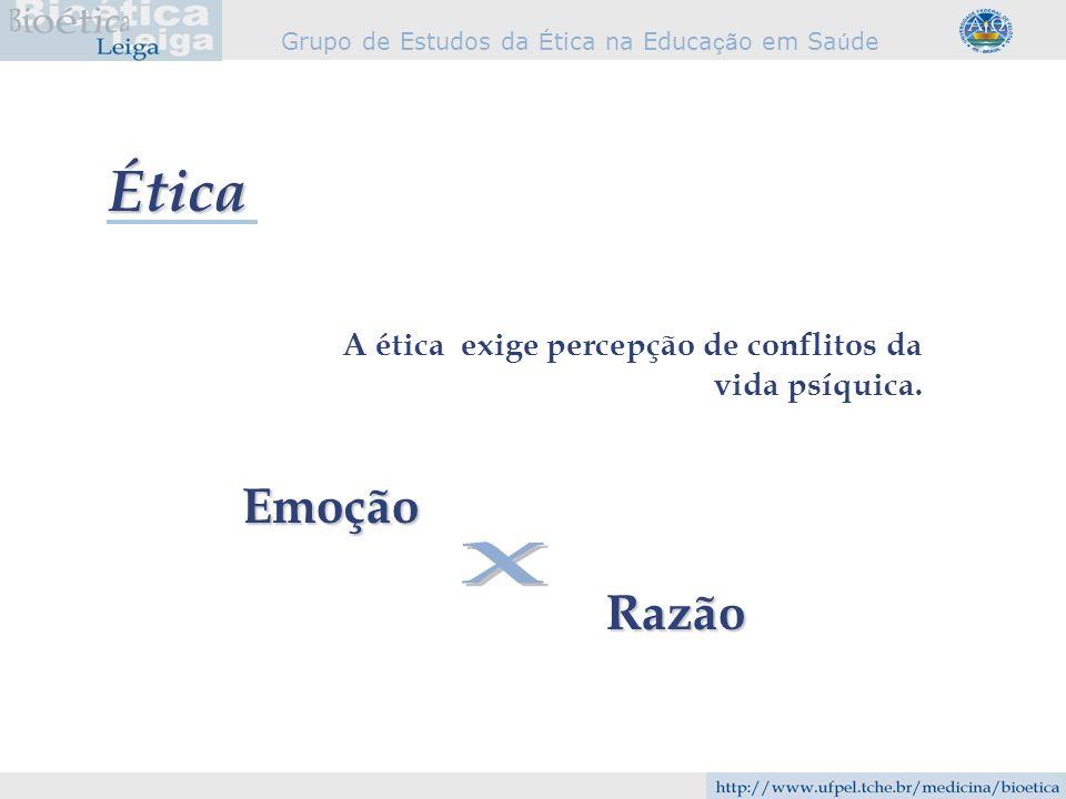 Grupo de Estudos da É tica na Educa çã o em Sa ú de A ética exige percepção de conflitos da vida psíquica. Emoção Razão Ética