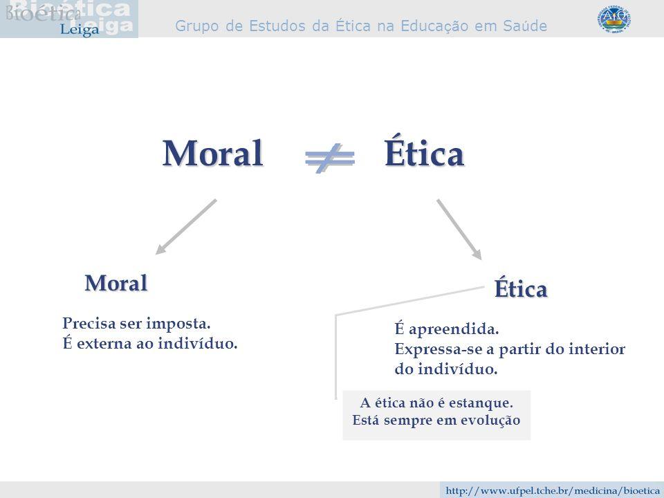 Grupo de Estudos da É tica na Educa çã o em Sa ú de ÉticaMoral Ética Moral Precisa ser imposta. É externa ao indivíduo. É apreendida. Expressa-se a pa