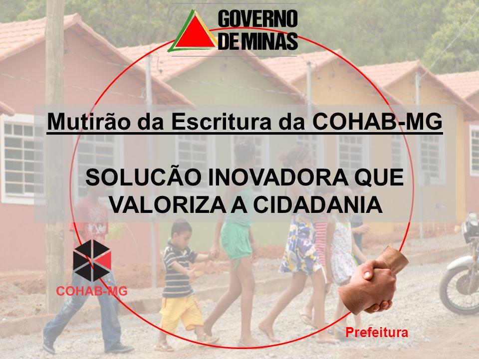 Prefeitura Mutirão da Escritura da COHAB-MG SOLUCÃO INOVADORA QUE VALORIZA A CIDADANIA