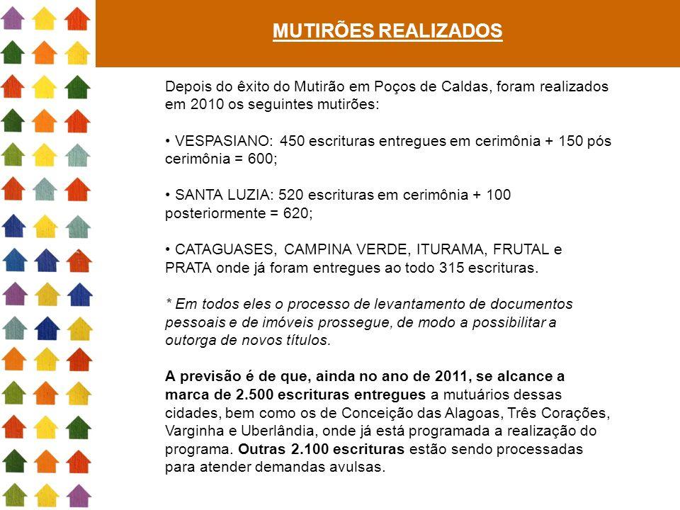 MUTIRÕES REALIZADOS Depois do êxito do Mutirão em Poços de Caldas, foram realizados em 2010 os seguintes mutirões: VESPASIANO: 450 escrituras entregue
