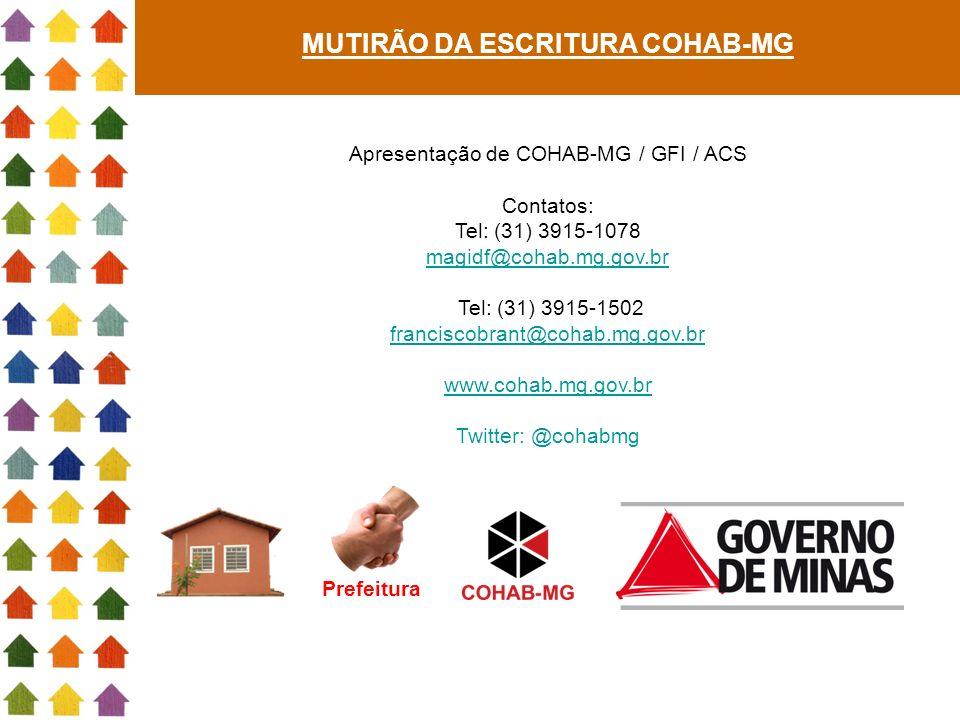 Prefeitura Apresentação de COHAB-MG / GFI / ACS Contatos: Tel: (31) 3915-1078 magidf@cohab.mg.gov.br Tel: (31) 3915-1502 franciscobrant@cohab.mg.gov.b