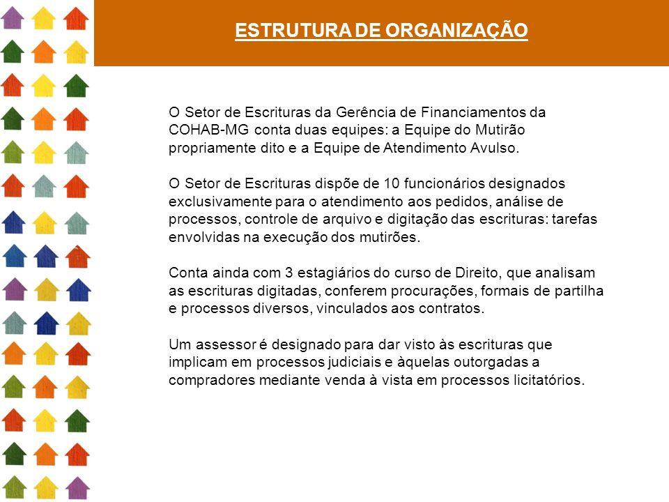 ESTRUTURA DE ORGANIZAÇÃO O Setor de Escrituras da Gerência de Financiamentos da COHAB-MG conta duas equipes: a Equipe do Mutirão propriamente dito e a