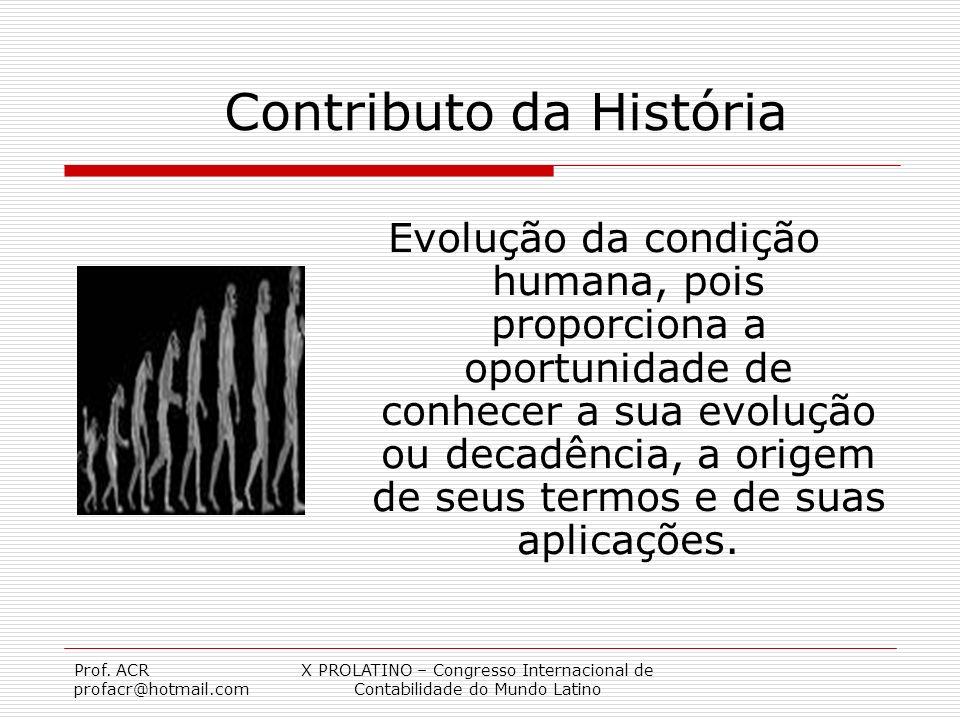 Prof. ACR profacr@hotmail.com X PROLATINO – Congresso Internacional de Contabilidade do Mundo Latino Contributo da História Evolução da condição human