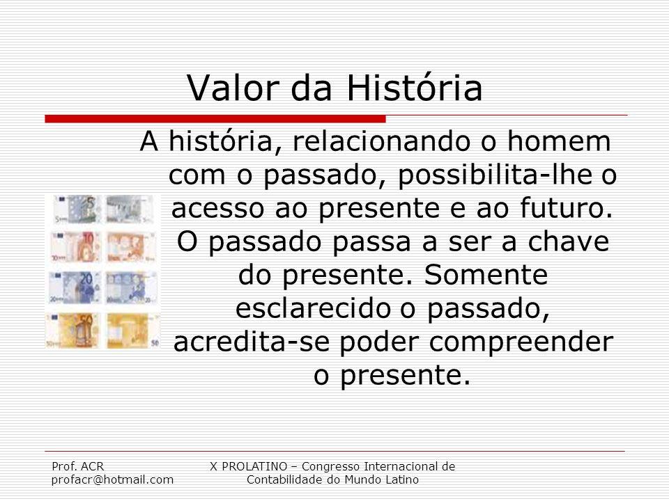 Prof. ACR profacr@hotmail.com X PROLATINO – Congresso Internacional de Contabilidade do Mundo Latino Valor da História A história, relacionando o home