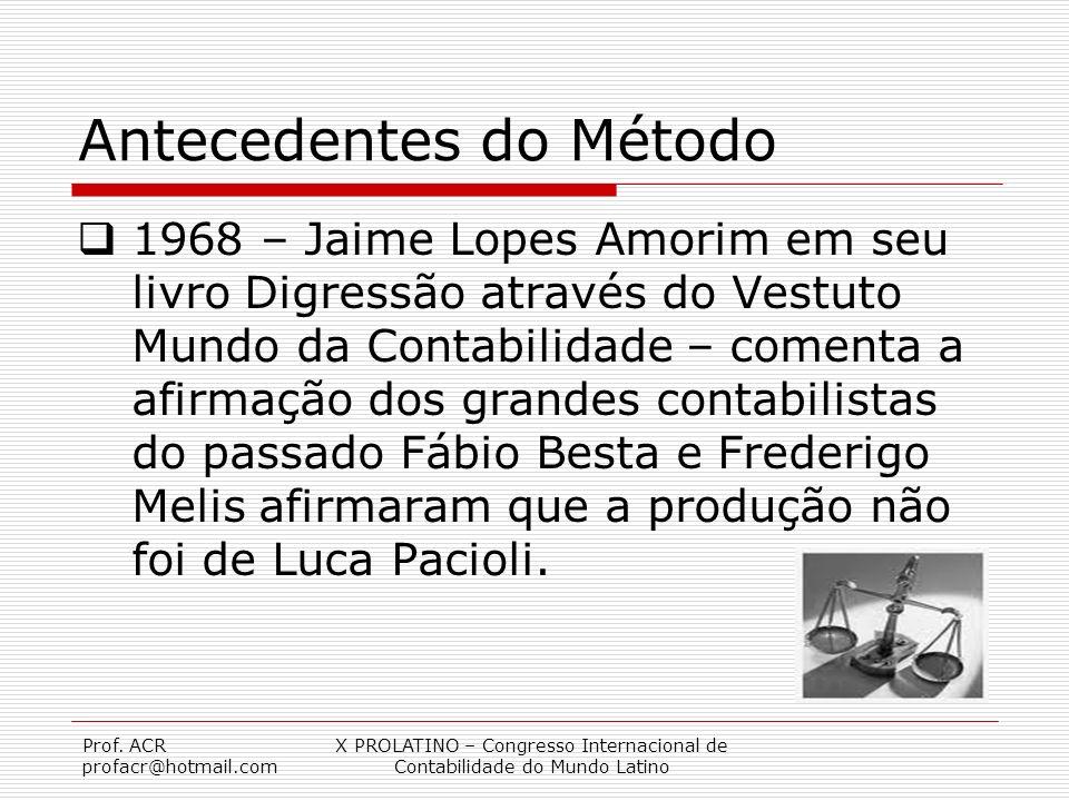 Prof. ACR profacr@hotmail.com X PROLATINO – Congresso Internacional de Contabilidade do Mundo Latino Antecedentes do Método 1968 – Jaime Lopes Amorim
