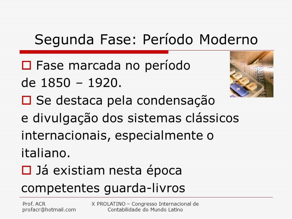 Prof. ACR profacr@hotmail.com X PROLATINO – Congresso Internacional de Contabilidade do Mundo Latino Segunda Fase: Período Moderno Fase marcada no per