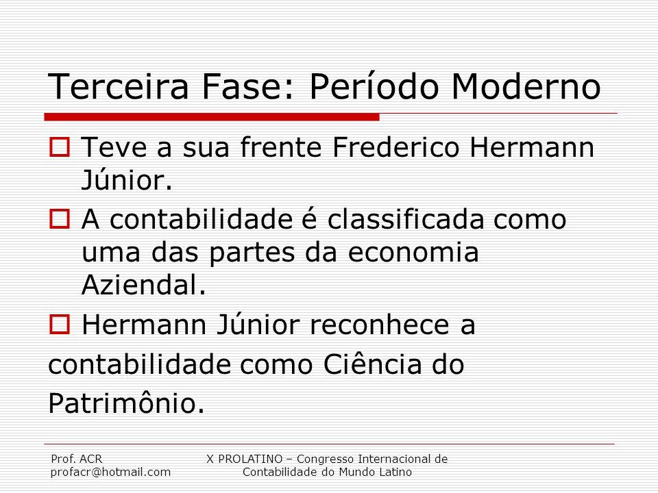Prof. ACR profacr@hotmail.com X PROLATINO – Congresso Internacional de Contabilidade do Mundo Latino Terceira Fase: Período Moderno Teve a sua frente