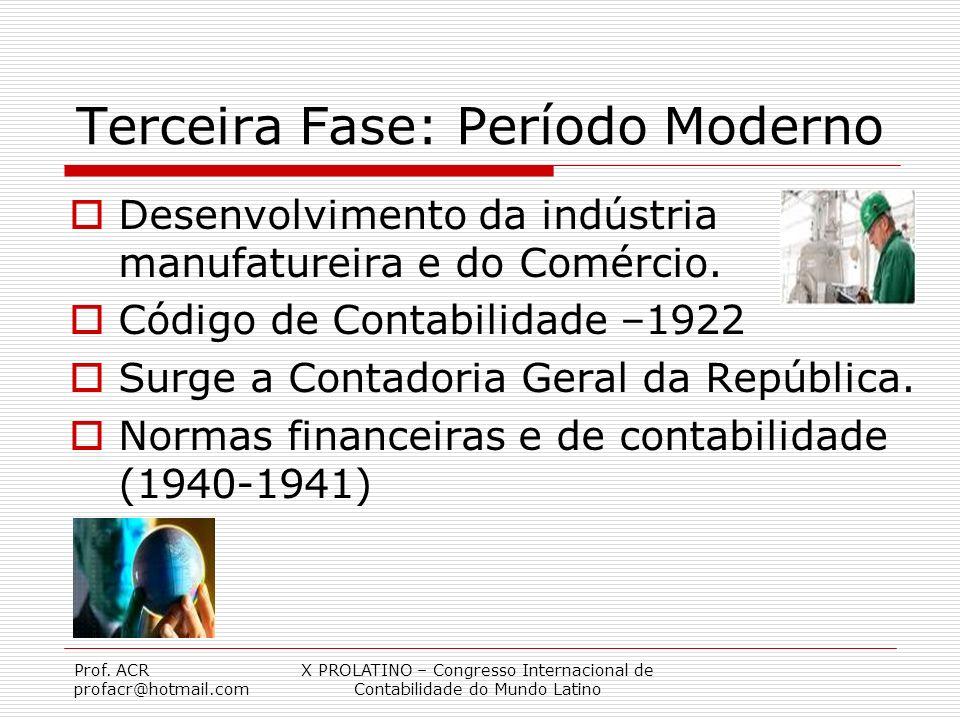 Prof. ACR profacr@hotmail.com X PROLATINO – Congresso Internacional de Contabilidade do Mundo Latino Terceira Fase: Período Moderno Desenvolvimento da