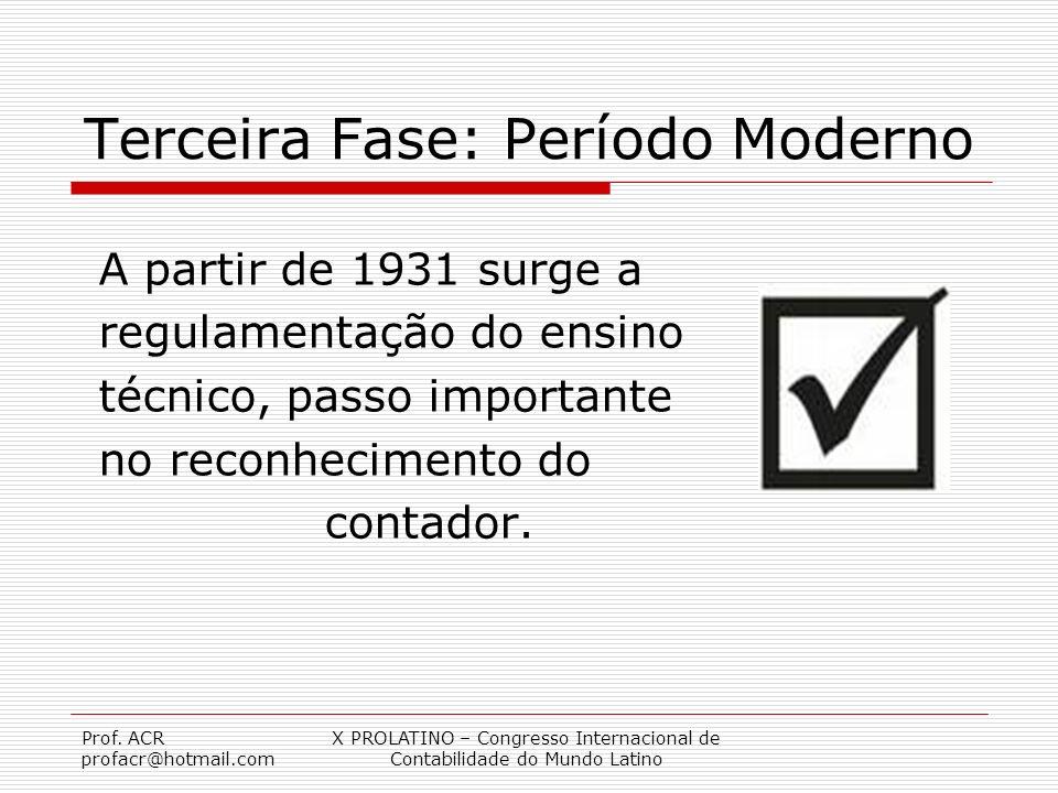Prof. ACR profacr@hotmail.com X PROLATINO – Congresso Internacional de Contabilidade do Mundo Latino Terceira Fase: Período Moderno A partir de 1931 s