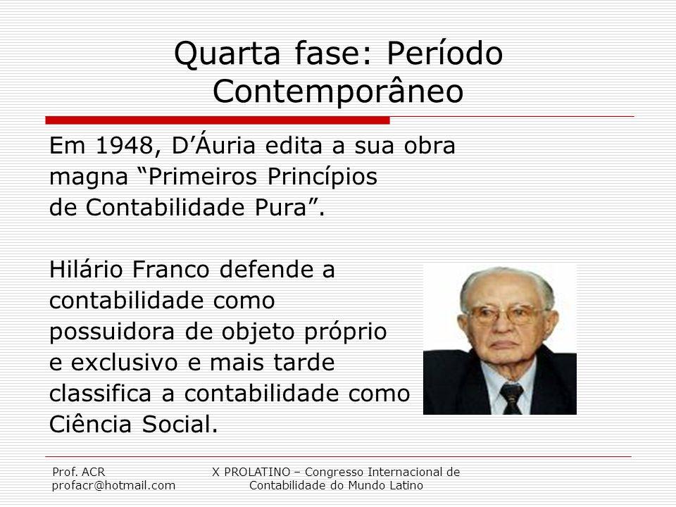 Prof. ACR profacr@hotmail.com X PROLATINO – Congresso Internacional de Contabilidade do Mundo Latino Quarta fase: Período Contemporâneo Em 1948, DÁuri