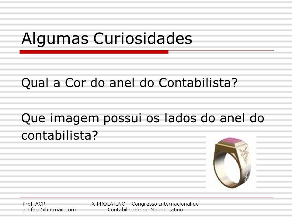 Prof. ACR profacr@hotmail.com X PROLATINO – Congresso Internacional de Contabilidade do Mundo Latino Algumas Curiosidades Qual a Cor do anel do Contab
