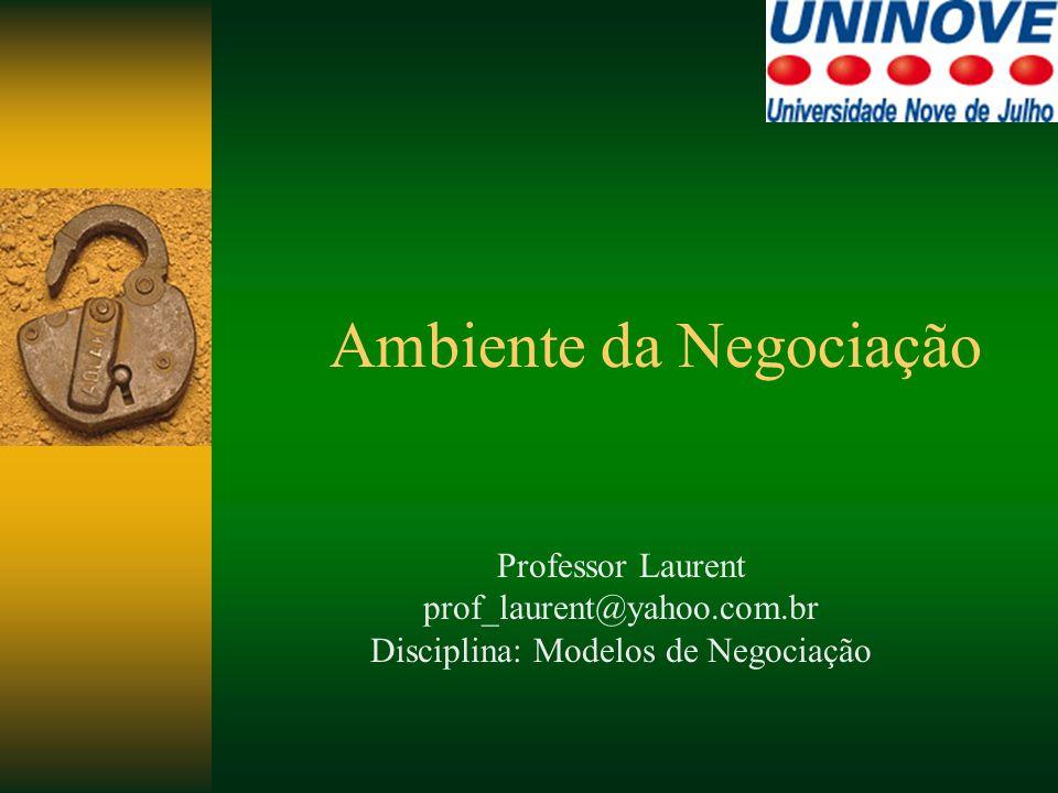 Ambiente da Negociação Professor Laurent prof_laurent@yahoo.com.br Disciplina: Modelos de Negociação