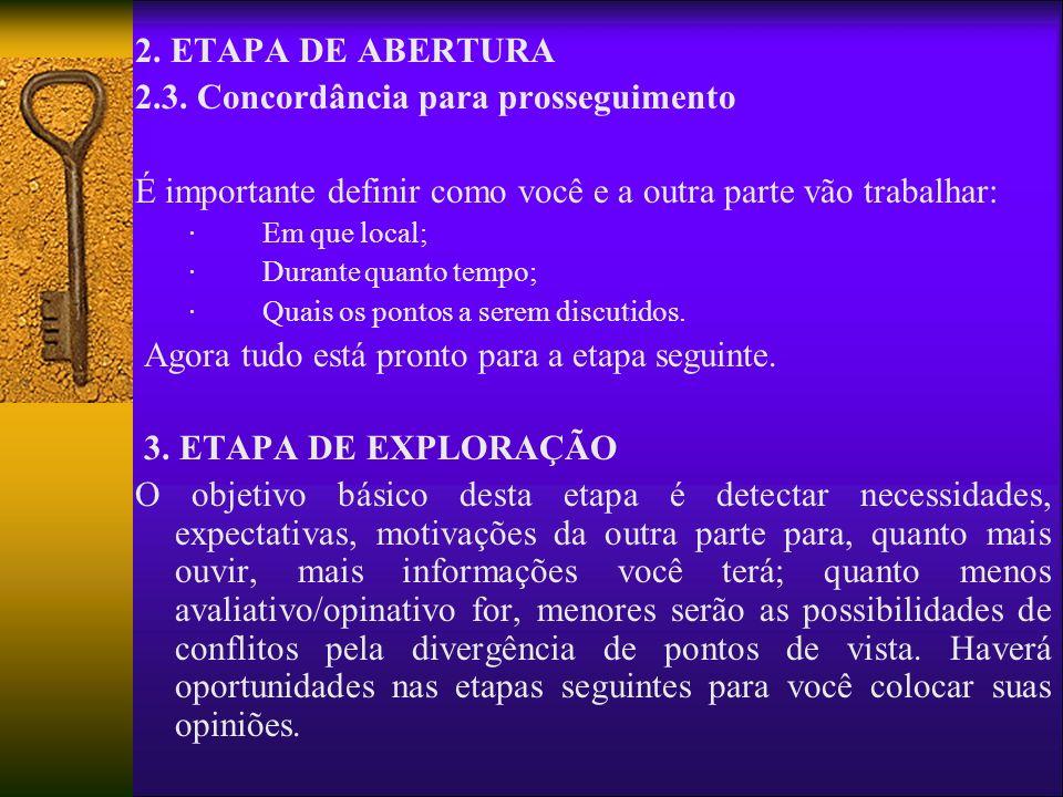 2. ETAPA DE ABERTURA 2.3. Concordância para prosseguimento É importante definir como você e a outra parte vão trabalhar: · Em que local; · Durante qua