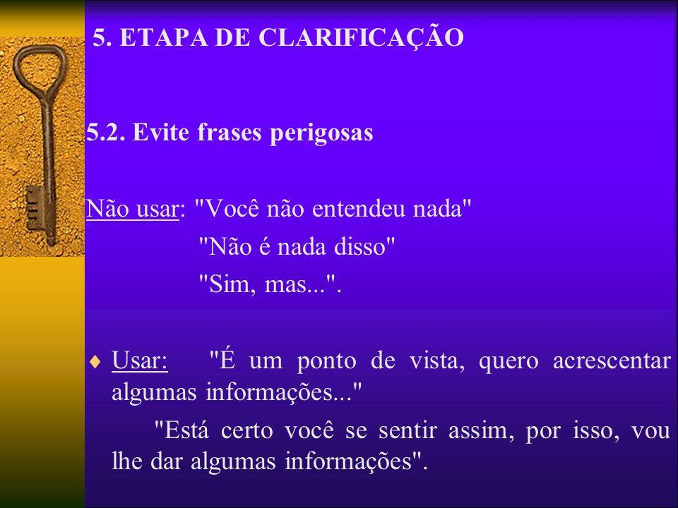 5. ETAPA DE CLARIFICAÇÃO 5.2. Evite frases perigosas Não usar: