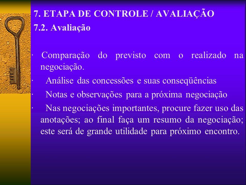 7. ETAPA DE CONTROLE / AVALIAÇÃO 7.2. Avaliação · Comparação do previsto com o realizado na negociação. · Análise das concessões e suas conseqüências