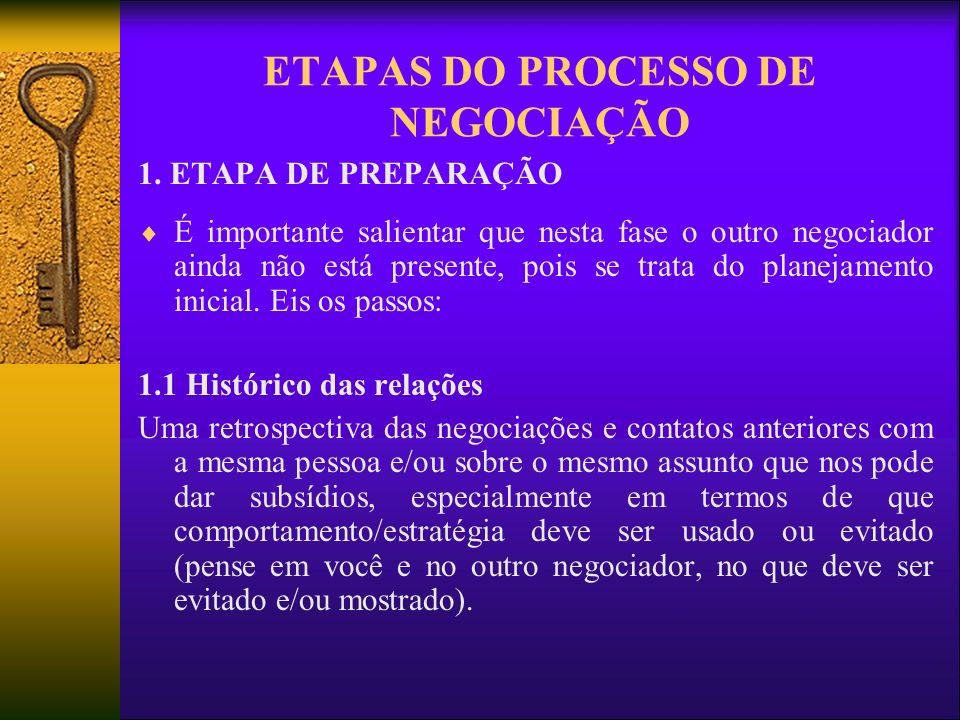 ETAPAS DO PROCESSO DE NEGOCIAÇÃO 1. ETAPA DE PREPARAÇÃO É importante salientar que nesta fase o outro negociador ainda não está presente, pois se trat