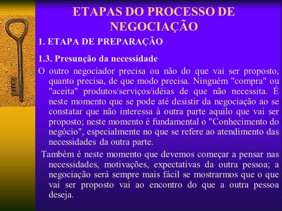 ETAPAS DO PROCESSO DE NEGOCIAÇÃO 1. ETAPA DE PREPARAÇÃO 1.3. Presunção da necessidade O outro negociador precisa ou não do que vai ser proposto, quant