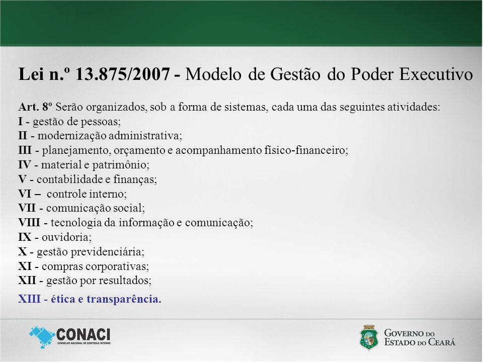 Lei n.º 13.875/2007 - Modelo de Gestão do Poder Executivo Art. 8º Serão organizados, sob a forma de sistemas, cada uma das seguintes atividades: I - g