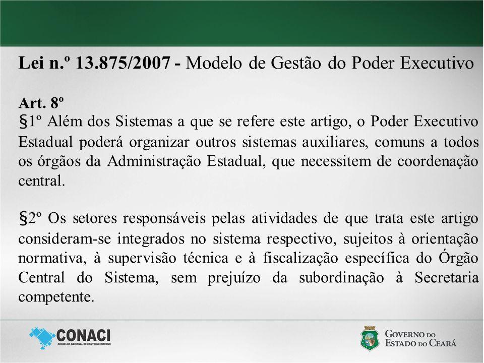 Lei n.º 13.875/2007 - Modelo de Gestão do Poder Executivo Art. 8º §1º Além dos Sistemas a que se refere este artigo, o Poder Executivo Estadual poderá