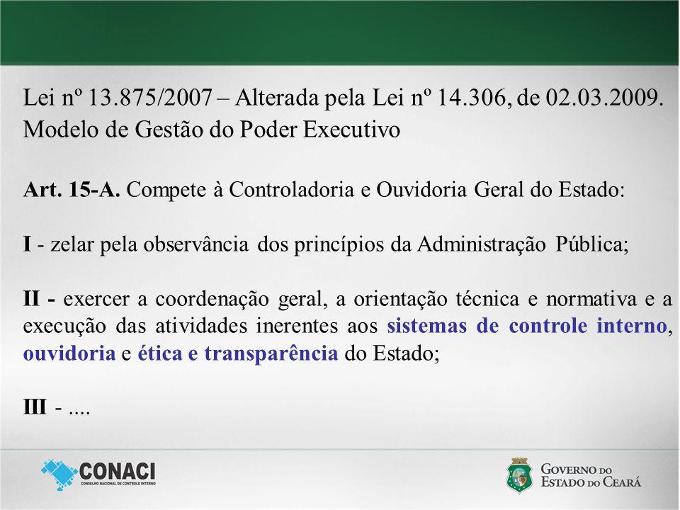Lei nº 13.875/2007 – Alterada pela Lei nº 14.306, de 02.03.2009. Modelo de Gestão do Poder Executivo Art. 15-A. Compete à Controladoria e Ouvidoria Ge