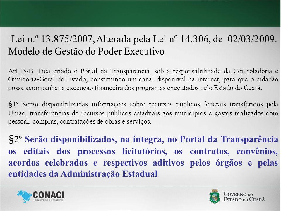 Lei n.º 13.875/2007, Alterada pela Lei nº 14.306, de 02/03/2009. Modelo de Gestão do Poder Executivo Art.15-B. Fica criado o Portal da Transparência,